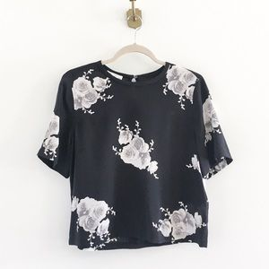 Equipment Floral Silk Cropped Boxy Blouse